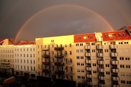 A rainbow as seen from the windows of my flat in Berlin-Friedrichshain.