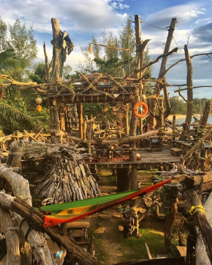 Ko Phayam's Hippie Bar at Ao Khao Kwai, made entirely out of drift wood!