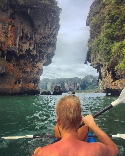 Kayaking along the limestone rocks in Krabi.