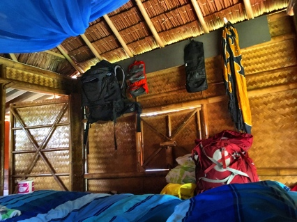 Inside our lovely bamboo bungalow at Slaglines Hostel on Ko Lanta.