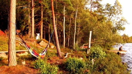 Roadtrippin' Sverige in August 2014: Relaxing in hammocks at the prettiest lake, far away from any civilzation.