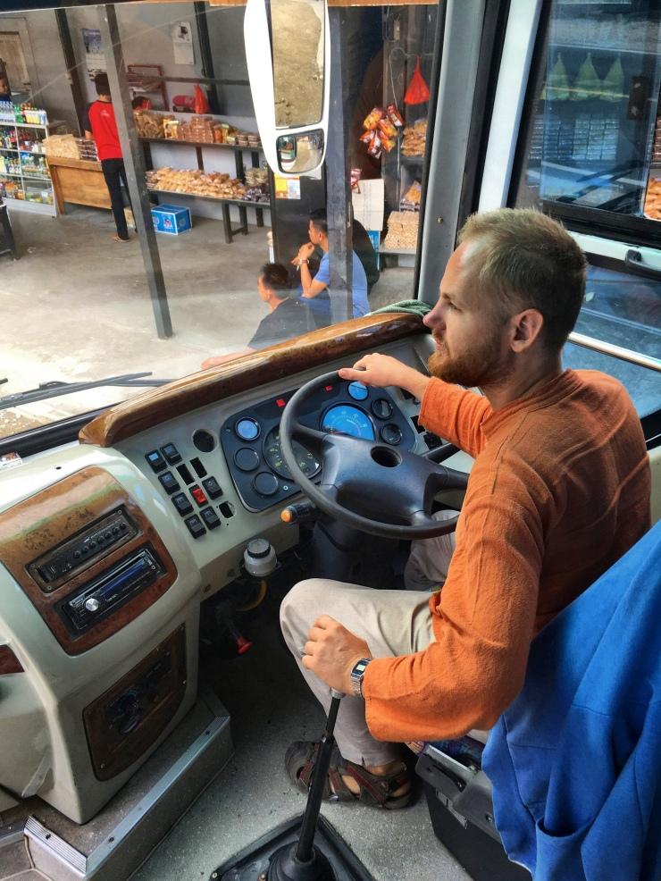 Riding the bus to Rantepao in the Tana Toraja region.