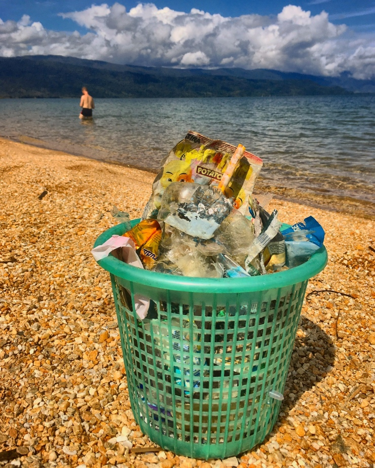Collecting trash at Lake Poso and then enjoying a long lovely swim!