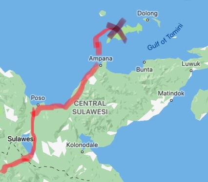Making our way north through Central Sulawesi (passing through Poso and ending in Ampana from where we took the ferry to the Togeans).