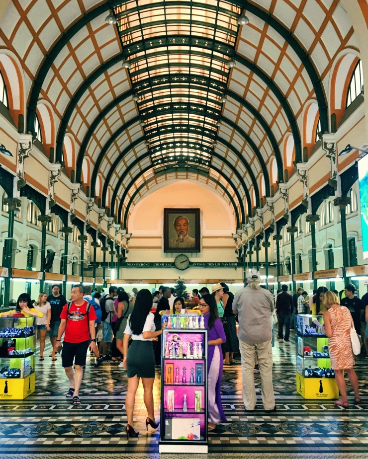 Inside Saigon's touristic, but certainly beautiful old Post Office.