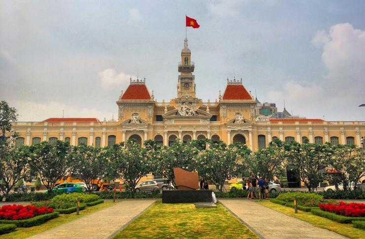 The Communist flag flying high above Saigon's town hall.