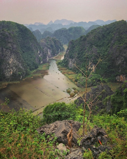 Spectacular view over rice fields in the Tam Coc area (near Ninh Binh).