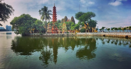 The Tran Quoc Pagoda in Ha Noi, the country's capital.