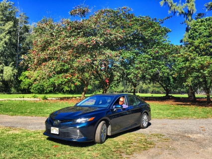 Truffles, our fancy rental car (a Toyota Camry) n O'ahu.