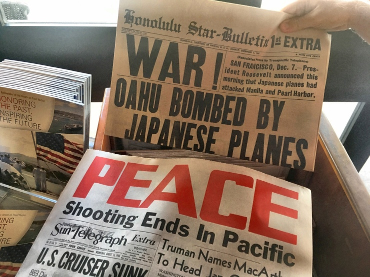 A collection of newspaper reprints in the gift shop.