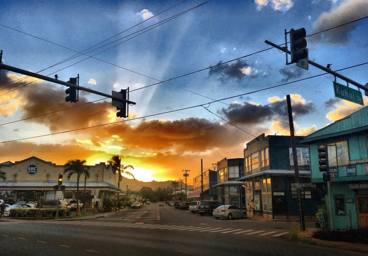 First night on Kaua'i: Magical sunset above the charming, if touristic town of Kapaa.