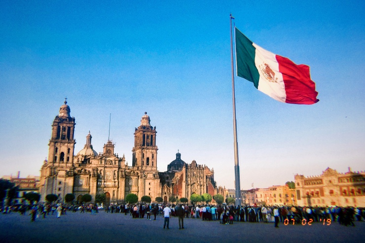 Zócalo in México Ciudad, probably featuring the country's biggest flag.