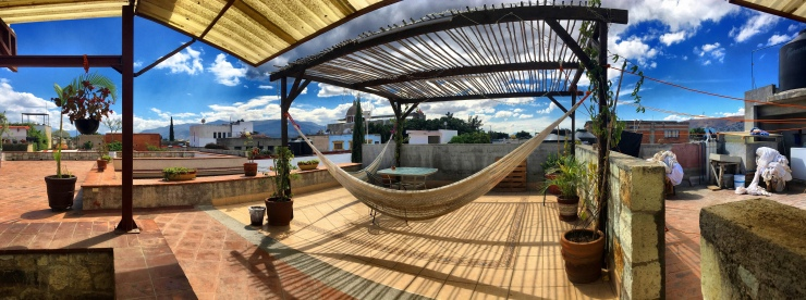Up on the terrace of el Chocolate Hostal – it's really all about being at the right time at the right place.