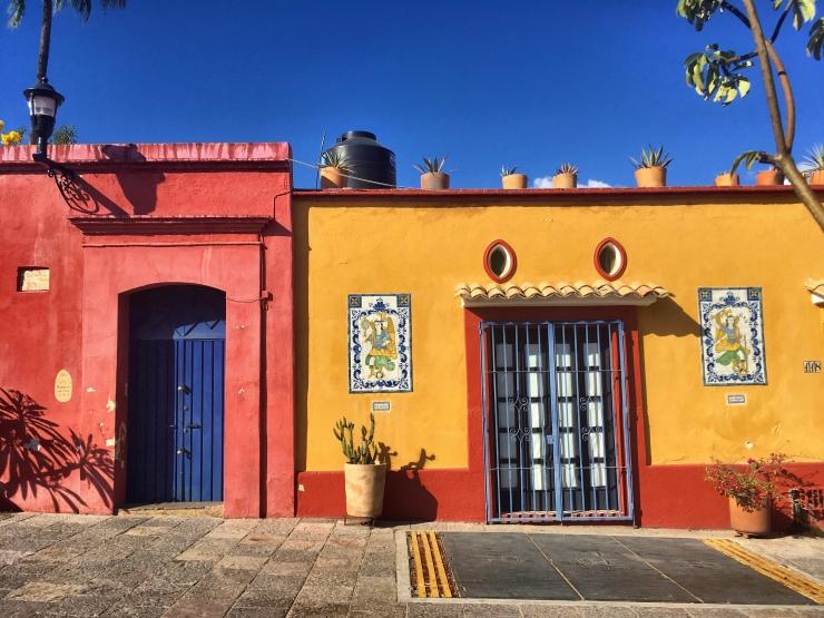 Colourful houses in Oaxaca Ciudad.
