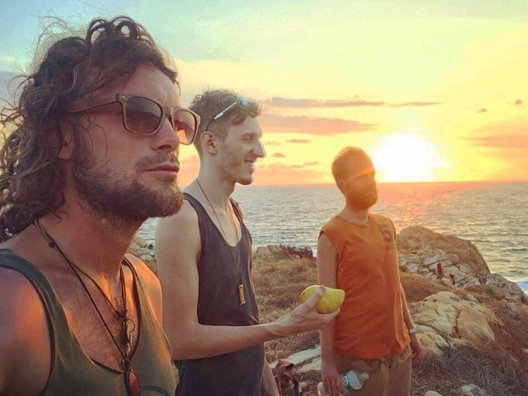 Watching the sunset with Micha and cK at Punta Cometa.