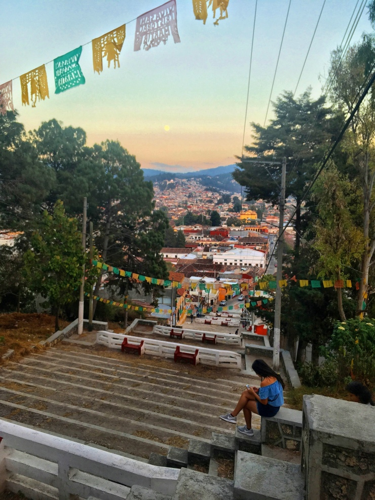 Watching the sunset from our favorite viewpoint San Cristóbal de las Casas.