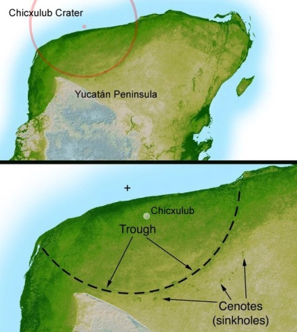 The location of the Chicxulub crater in the north of the Yucatan Peninsula (the center being close to the town that gave the crater its name: Chicxulub).