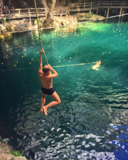 ...before jumping down inside the cenote nearby.